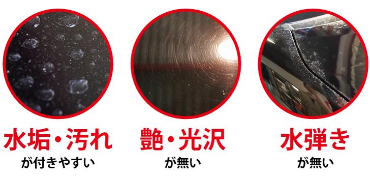 水弾きが無い 艶・光沢が無い 水垢・汚れが付きやすい
